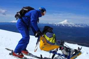Mono-Ski , para usuarios de silla de ruedas, Glaciar Volcán Mocho.