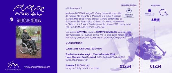 Invitación Remate Solidario Sheraton, 11 Junio 2018.
